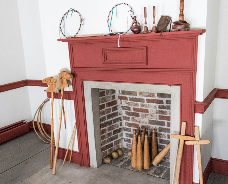Antique toys displayed on a visit to the Cossit House Museum in Sydney, Nova Scotia, The architecture is neo-classical Georgian. The home is furnished with 18th century pieces and museum staff dressed in period costume demonstrate traditional skills like candle-making, lace-making and butter-churning. Photo Credit: Wendy Nordvik-Carr©