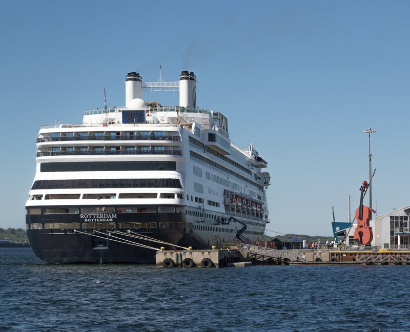 Cruise Guide Canada New England - Rotterdam, Holland America Cruise line is welcomed to Sydney, Nova Scotia at the cruise ship terminal where you will also see the world's largest fiddle. Photo Credit: Wendy Nordvik-Carrolland America Cruiseline is welcomed to Sydney, Nova Scotia at the cruise ship terminal where you will also see the world's largest fiddle.