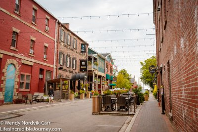 Charlottetown's Sydney Street has historic buildings with shops and restaurants. This area is found between Great George and Queen Streets on Sydney. Photo Credit: Wendy Nordvik-Carr©