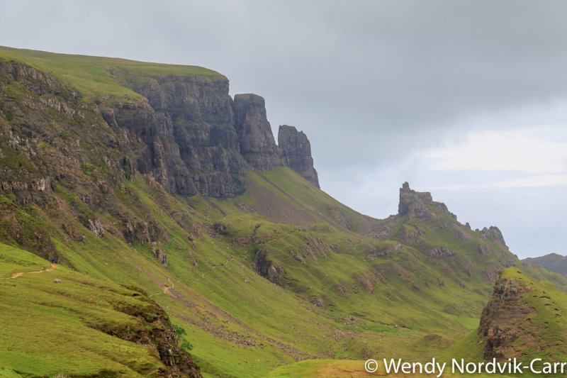 The Quiraing is located in the north of Isle of Skye on the Trotternish Ridge. The scenery is spectacular and the rock formations are out of this world making the area perfect for use in Sci-Fi movies. The ridge was shaped through a series of huge landslides creating dramatic peaked hoodoos, cliffs and concealed mesas. Photo Credit: Wendy Nordvik-Carr