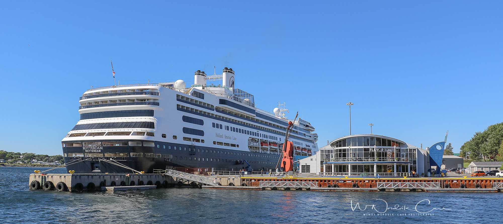 Port of Call Sydney, Nova Scotia is a popular port for cruise ships. Holland America's Rotterdam arrives in port. Photo Credit: Wendy Nordvik-Carr