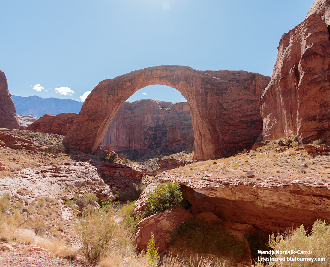 How to get to Rainbow Bridge National Monumne in Utah from Lake Powell, Arizona. It is the tallest natural bridge in North America. Photo Credit: Wendy Nordvik-Carr©
